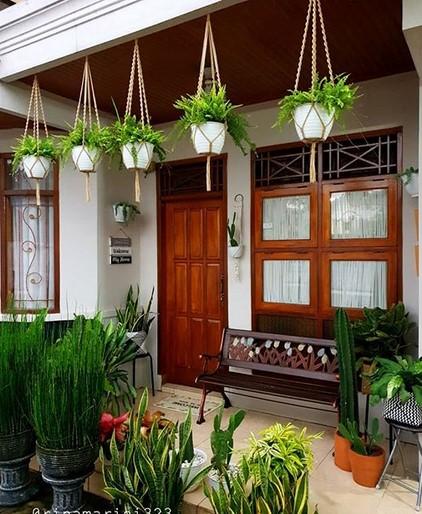 model teras rumah minimalis sederhana dengan aksesoris tanaman hias pot dan gantung