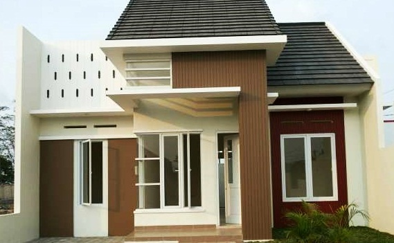 warna cat teras rumah dengan kombinasi cokelat krem pada model teras rumah sederhana