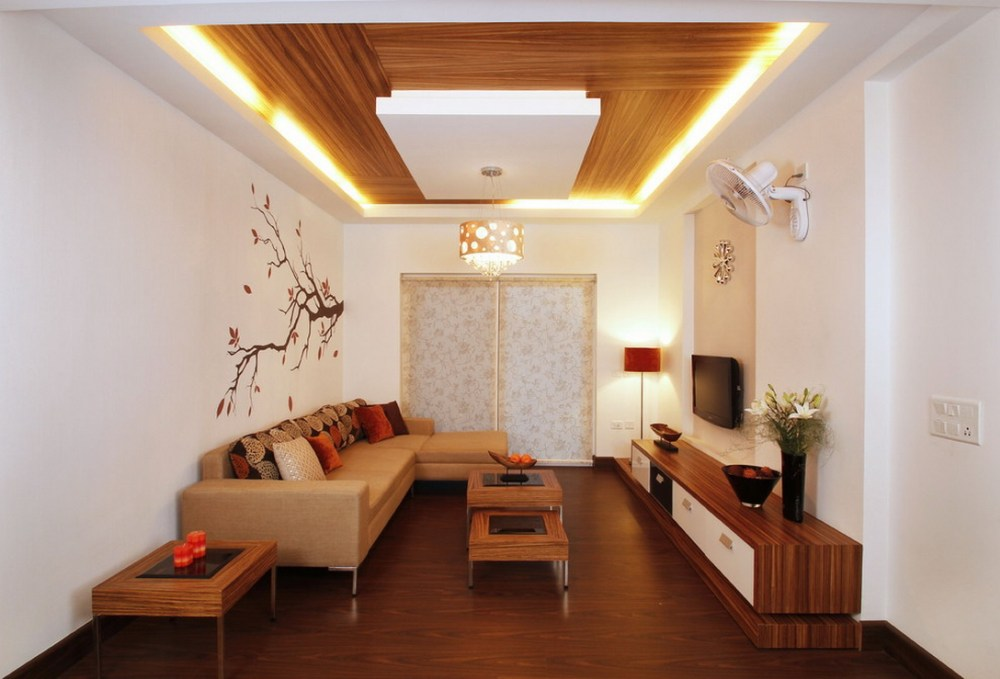 plafon minimalis rumah mewah terbaru dengan sentuhan kayu